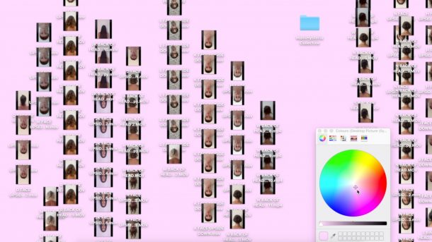 Desktop background containing thumbnail images of headshots and a colour wheel to the right