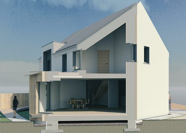 Rendering illsutration showing plans for a house.
