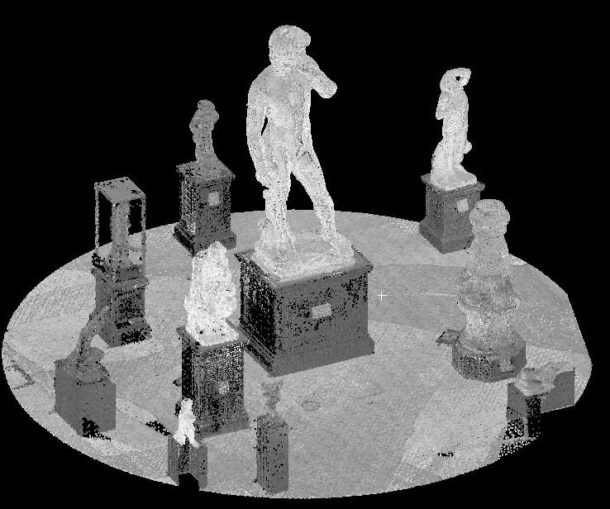 The same data as above shown in gray scale. The surrounding objects were captured as a by-product of the LiDAR scan and photography, the unique geometry of David, the surrounding pieces as well as the Cast Court were used to stitch the LiDAR scans taken from different positions together. Image © Plowman Craven