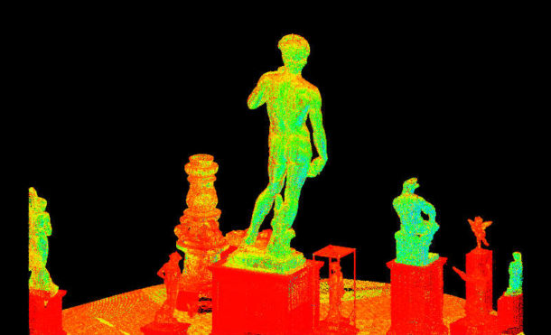Raw Digital model of David shown from behind in the context of other V&A's casts. Image © Plowman Craven