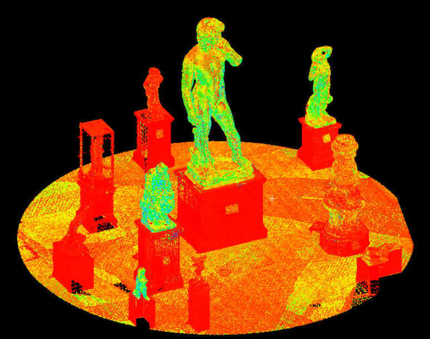 Raw Digital model of David being shown in the context of other V&A's casts. Left, the model is shown in intensity value (light returned to the LiDAR scanner) where darker objects appear at the red end of the spectrum and lighter objects (David) appear at the blue end of the spectrum. Image © Plowman Craven