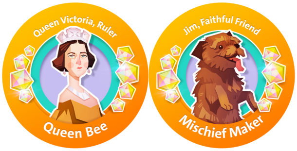 Queen Victoria and Jim the Dog, two characters from the new V&A Secret Seekers mobile game for family visitors.