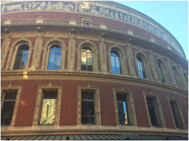 The façade of the Royal Albert Hall, with terracotta decorations