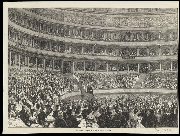 The interior of the Royal Albert Hall on a state occasion, 30 May 1874.