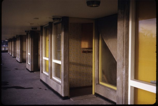Slide showing original yellow doors, about 1970, by Peter Smithson