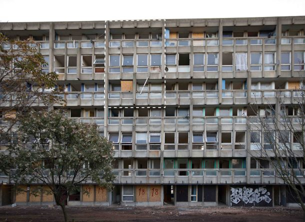 Robin Hood Gardens exterior showing section acquired by the V&A. © Victoria and Albert Museum, London