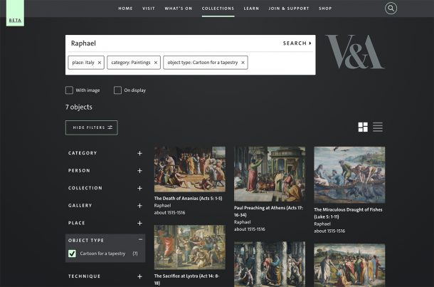 Explore the Collections search page for 'Raphael'