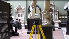 Data being captured with LiDAR laser scanner (foreground) and photography (background). Image Johanna Puisto © Victoria and Albert Museum, London.