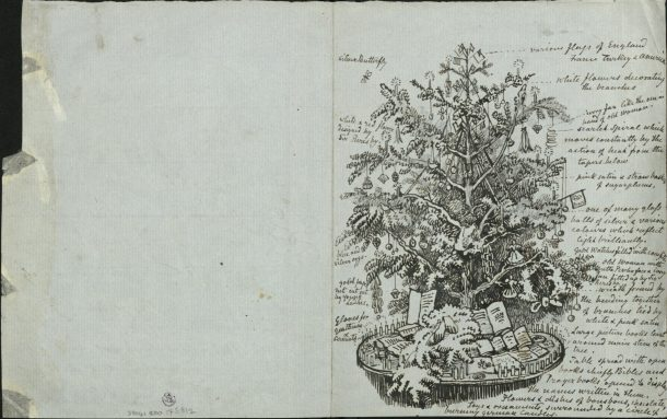 Pen and ink drawing of a decorated Christmas tree with many accompanying notes about the decorations.