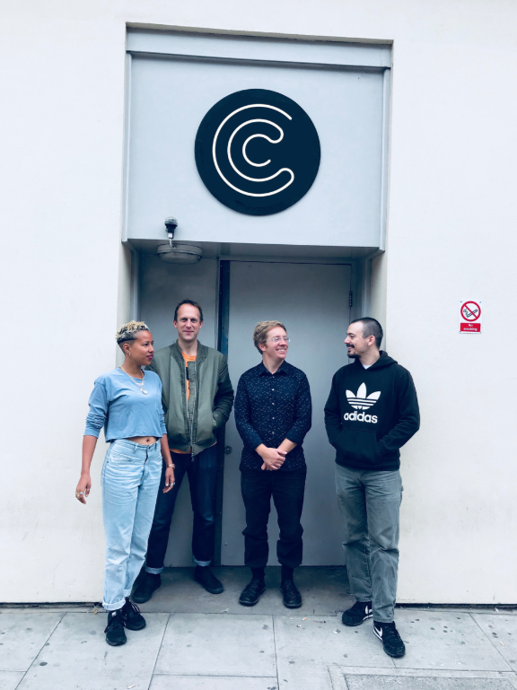 Tanya Auclair, Will Worsley, Sam Britton and Aaron May outside Coda to Coda's Studios in Hoxton.