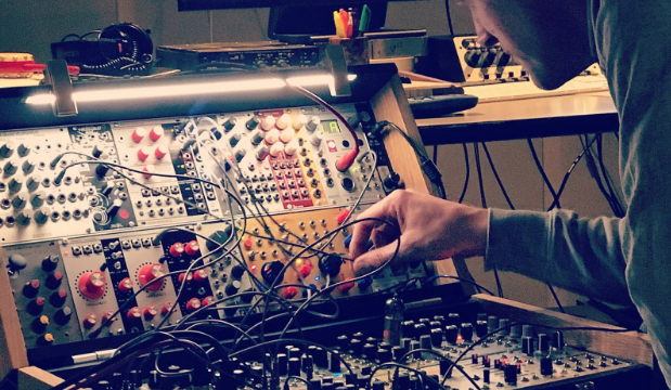 Will Worsley recording some modular synthesizer parts for the exhibition soundscape.