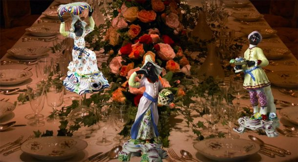 Three figures from the V&A superimposed on to a table top