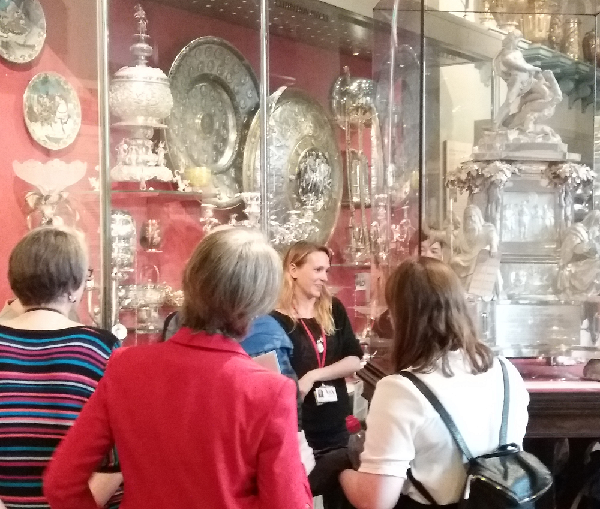 Examining a huqqa pipe in the Silver Galleries