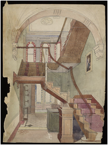 Design for a decorative scheme for a hallway and staircase, Godfrey Sykes, mid-nineteenth century, E.473-2015. Image © Victoria and Albert Museum, London