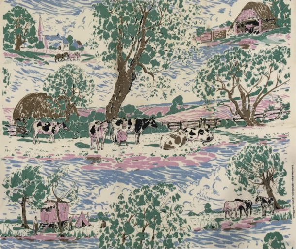 Printed linen 'Cretonne'. Cream white ground predominately printed in light green, blue and pink with a country scene. Main motif is jersey cows and milk maid under tree, with hay stack and fence. Either side of tree top are a) church with farm horse, and barn or b) caravan and 'wigwam' tent or horse grazing. Entitles 'Pastoral' and 'Tootal Fast Colour Cretonne'. 2 selvages.