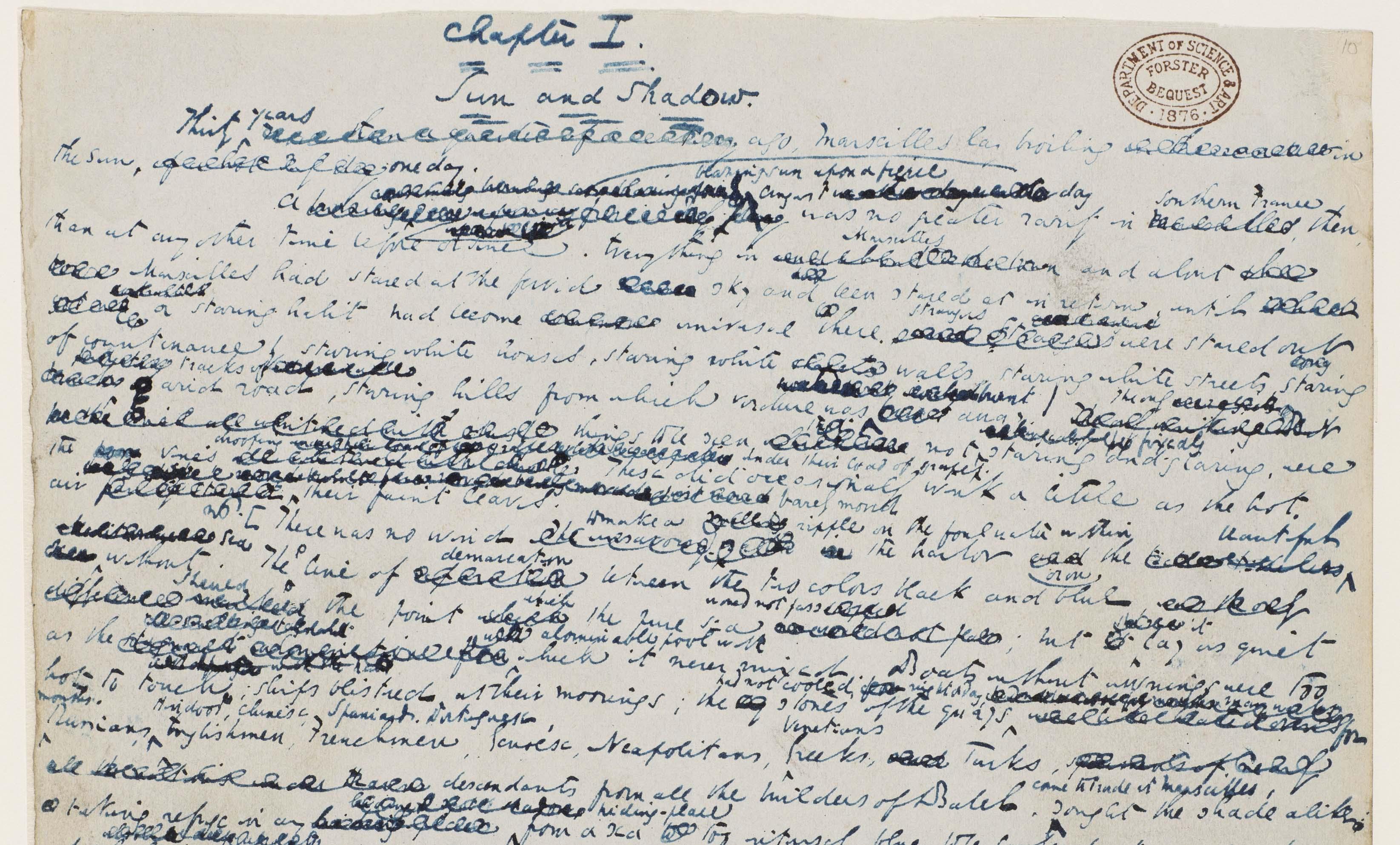 Charles Dickens, Little Dorrit manuscript, Chapter 1, 1855