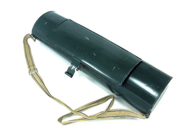 Vasculum made of lacquered metal with original canvas strap. Manufactured in France in the 20th century.