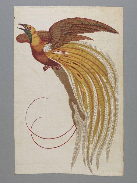 Furnishing fabric depicting a bird-of-paradise