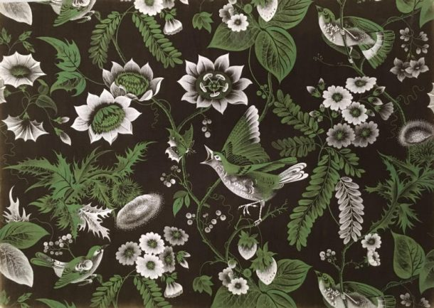 Furnishing fabric depicting birds, flowers, butterflies, and berries