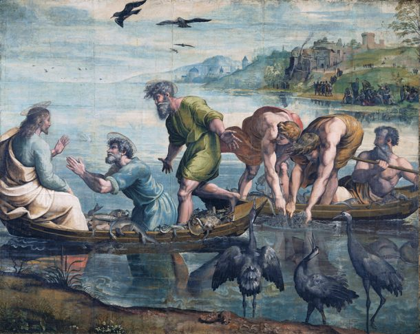 Raphael Cartoon, The Miraculous Draught of Fishes, (Luke 5: 1-11), by Raphael, 1515 – 16, Italy. Royal Collection Trust / © Her Majesty Queen Elizabeth II 2019. Photograph: Victoria & Albert Museum, London