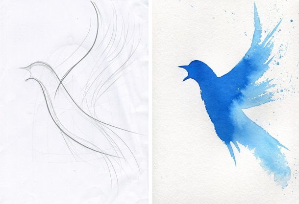 Left: Blue bird pencil sketch; Right: Blue bird with ink. © Ann Kiernan