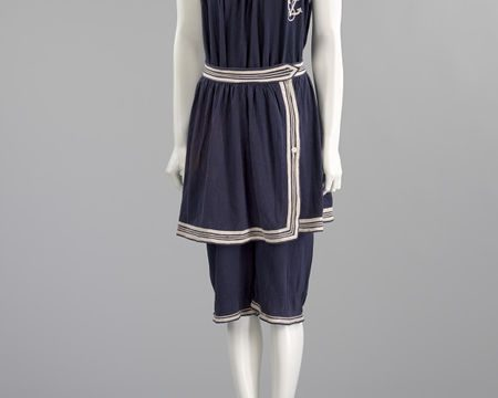 Women's bathing costume with skirt in navy wool