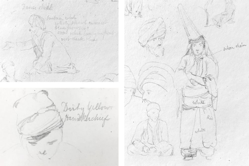 Various annotated sketches, made in Syria