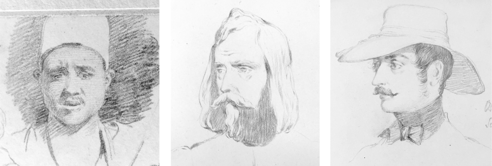 A series of portrait sketches by Richard Dadd