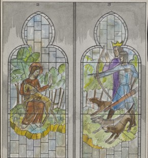 Detail of E.2013-1990, design for a stained glass window, showing St. Giles protecting the deer from King Wamba © Victoria and Albert Museum, London