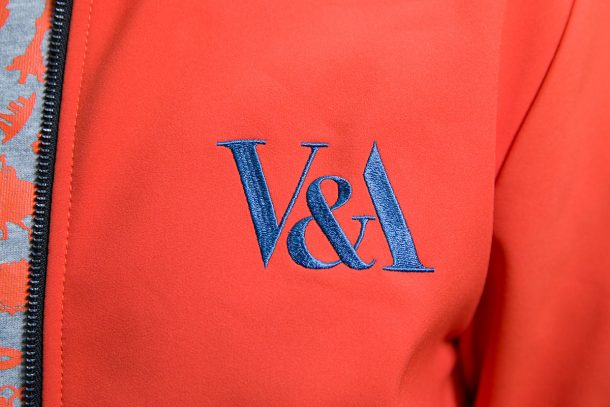 Detail of new V&A uniform, designed by Christopher Raeburn. © Victoria and Albert Museum, London