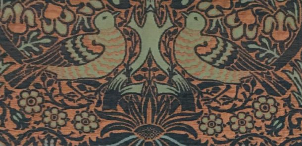 Two doves from CIRC.610-1954, a version of William Morris's Dove and Rose fabric