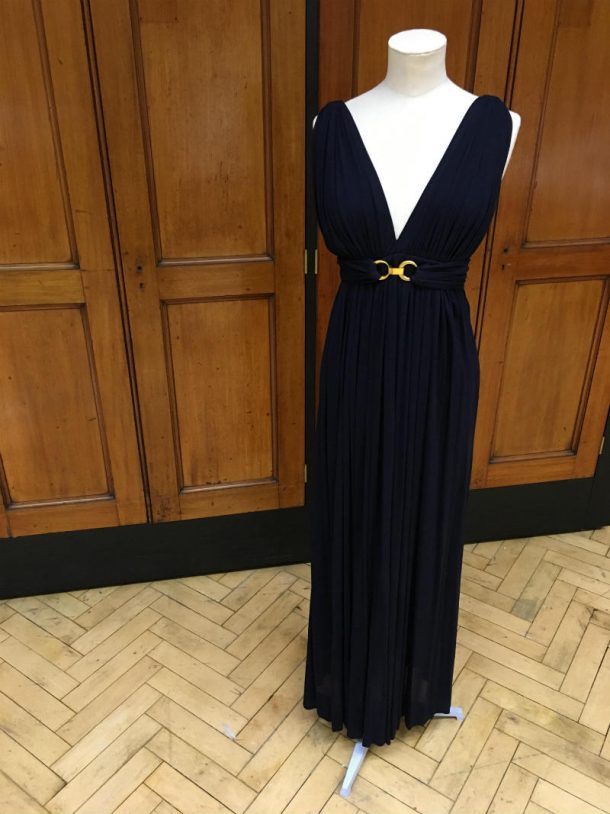 Saint Laurent Rive Gauche dress and belt, blue with gold-coloured rings