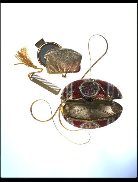 Fabergé egg style bag with purse, mirror, and comb
