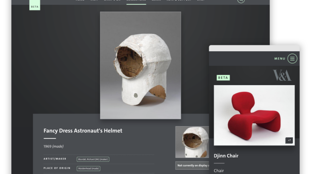 Screenshot of the new V&A Collections website