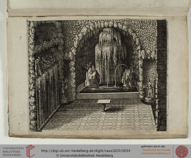 A view of the Grotto (with waterworks) in the gardens of theHortus Palatinusat the Heidelberg Castle. Engraving by Matthieu Marian, taken from 'Hortus Palatinus'(1620). Elements of water were very popular in pleasure gardens.