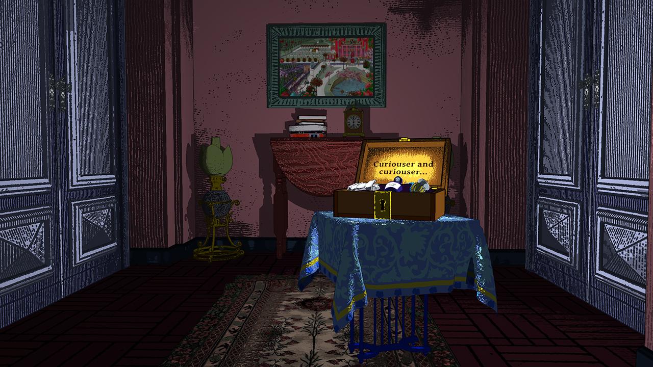 Screenshot from Curious Alice, the hallway of doors