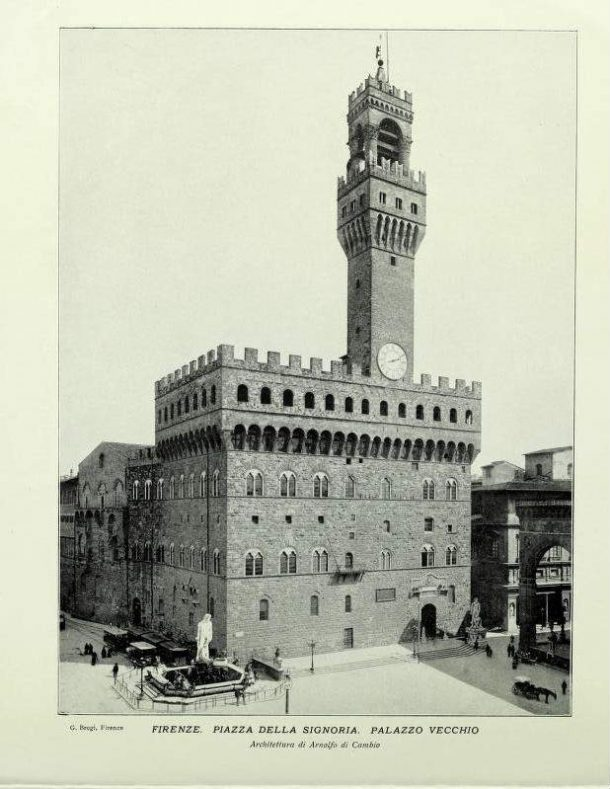 Photo of Piazza della Signoria without David. Photo from: Firenze, souvenir album con 48 vedute, published by A.-G. Wehrli, Kilchenberg (Zurich), 1900