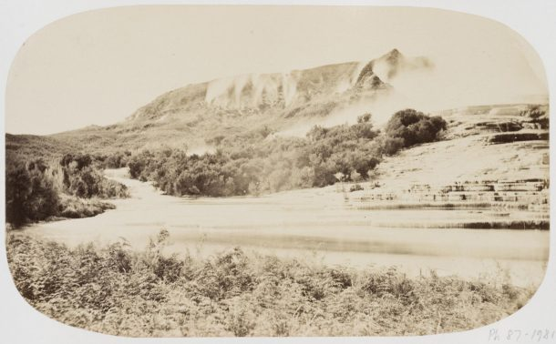 Photograph of the Te Tarata (terraces in Rotomahana, New Zealand. Taken about 1865 by John Kinder. This is one of two prints that make up a composite panorama. Museum number PH.87-1981 © Victoria and Albert Museum