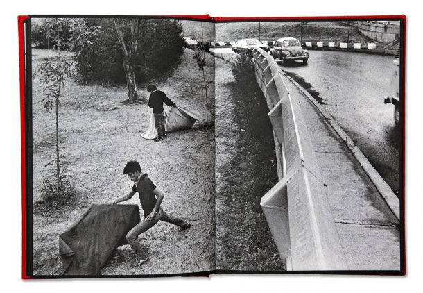 Pages from a photo book showing a car on a bridge