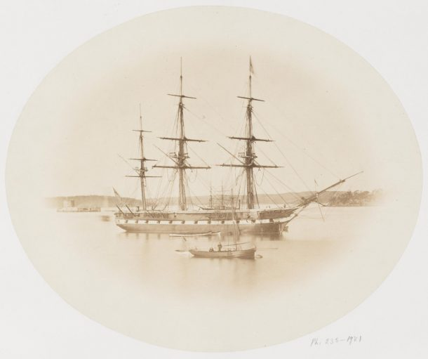 Photograph of H.M.S. Curacoa, Sydney Harbour, South Australia. Taken about 1865 by an unknown photographer, Museum number PH.235-1981 © Victoria and Albert Museum