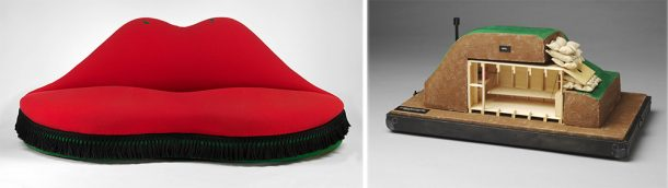 Mae West Lips sofa and Nuclear Fallout Shelter