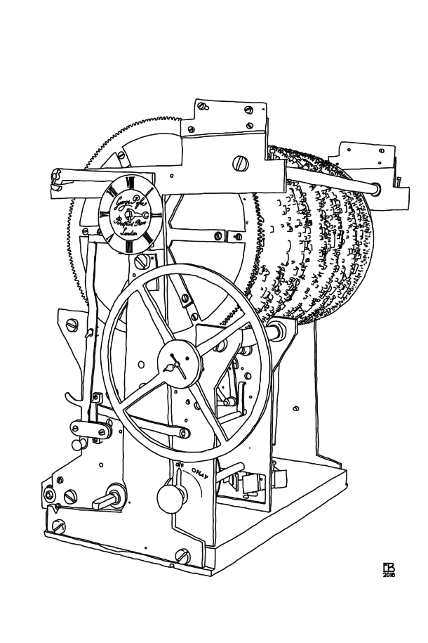 Pyke Clock mechanism illustration by Eileen Budd
