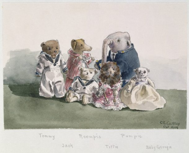 Watercolour of the Cattley toys by Constance Cattley, October 1908