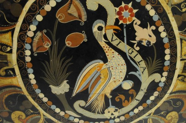 Detail of mopa mopa decoration: the white pigment contains high amounts of mercury (photo by Dana Melchar)