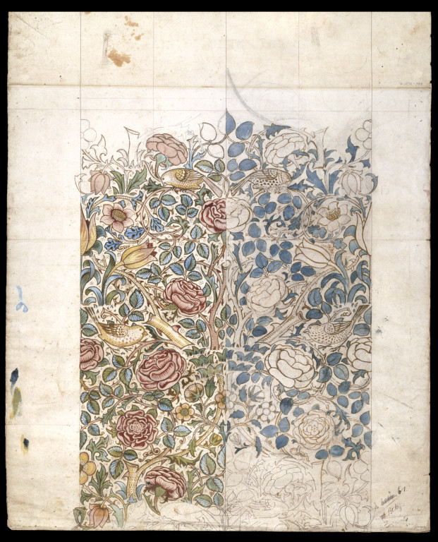 Design for 'Rose'  printed textile by William Morris, 1883. Acquired by the V&A in 1988. Museum number E.1075-1988
