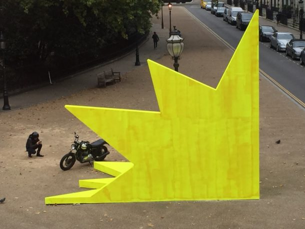 Didier Faustino's This is not a love song occupied Bedford Square in 2015 as part of Faustino's exhibition Undomesticated Places. The installation was designed to be a 'platform in the urban environment'. It fulfilled Faustino's intention by becoming, amongst other things, a backdrop for a motorbike selfie and a stage for a jazz quartet.