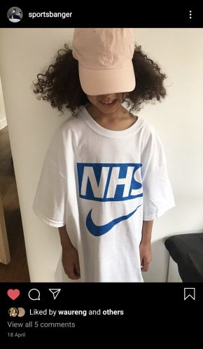 Example of the NHS x Nike bootleg t-shirt
