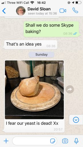A WhatsApp conversation between curator May Rosenthal Sloan and her father about diminishing supplies of yeast.