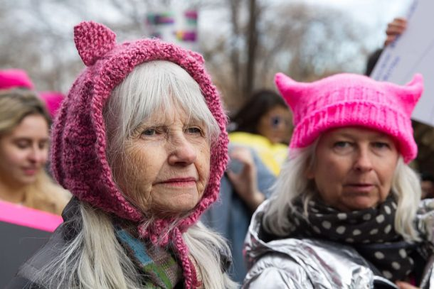 A knitted Pussy Power hat being worn by a demonstrator in 2017