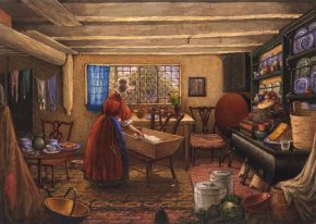 Watercolour, 'The Kitchen at Elmswell Manor House